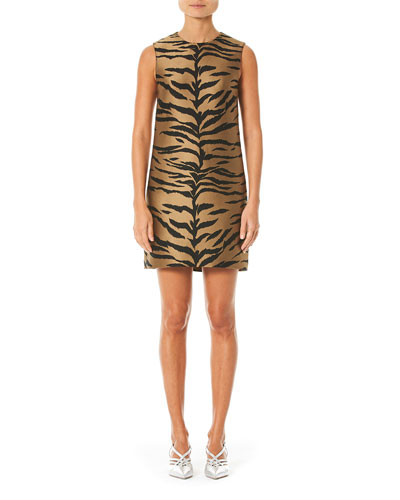 Tiger Print Mikado Shift Dress