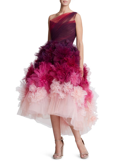 Ombre Organza Tea-Length Dress