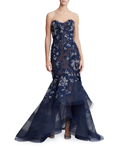 9507d87d Strapless Floral-Embroidered High-Low Gown Quick Look. Marchesa