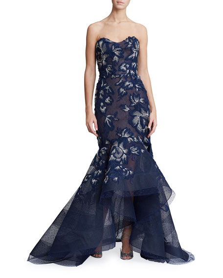 9a6435f98 Marchesa Strapless Floral-Embroidered High-Low Gown