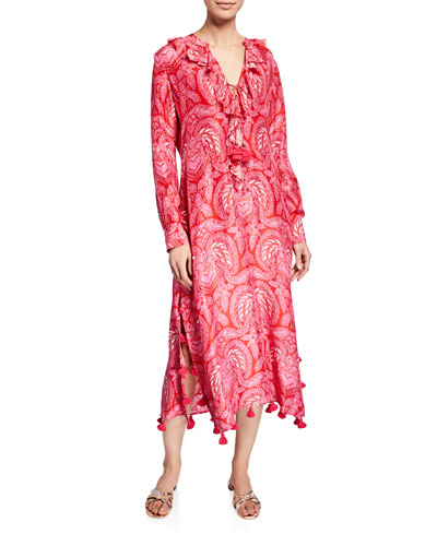 Cerelina Paisley Print Long-Sleeve Dress
