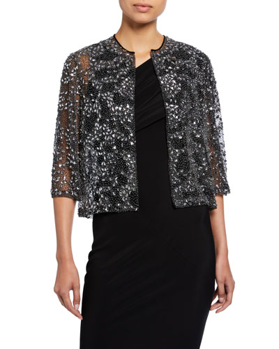 38769427b6fc Beaded Charcoal Bolero Jacket Quick Look. Naeem Khan