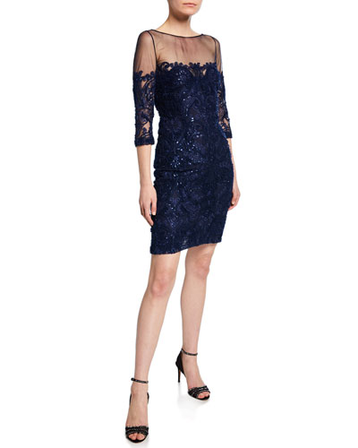 3/4-Sleeve Beaded Cocktail Dress