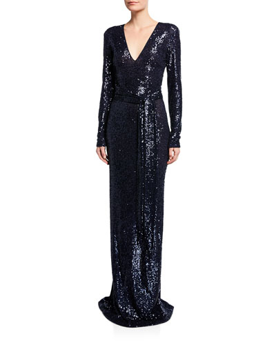 189c502e Long-Sleeve V-Neck Gown Quick Look. Naeem Khan