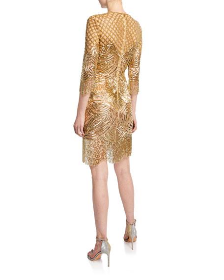 3/4-Sleeve Beaded-Fringe Cocktail Dress