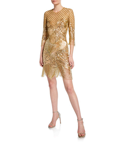 b0449c66a93fe 3/4-Sleeve Beaded-Fringe Cocktail Dress Quick Look. Naeem Khan