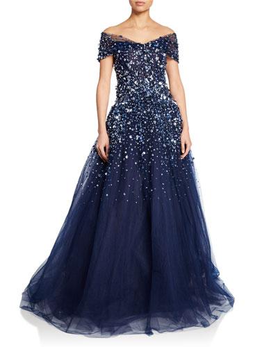 Off-the-Shoulder Embellished-Tulle Gown