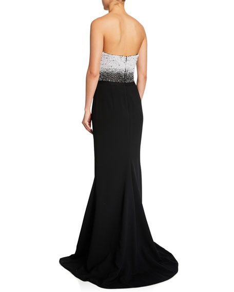 Embroidered Bustier Trumpet Gown