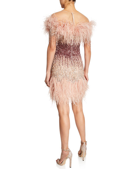 Ostrich-Feather & Sequined Cocktail Dress