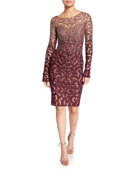 Ombre Crystal and Sequined Cocktail Dress