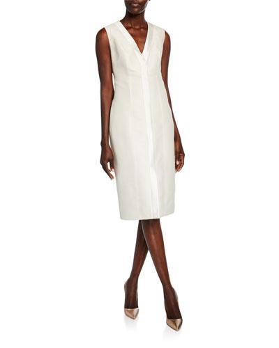 Silk V-Neck Cocktail Dress
