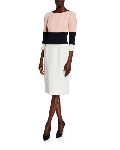Colorblocked 3/4-Sleeve Cocktail Dress