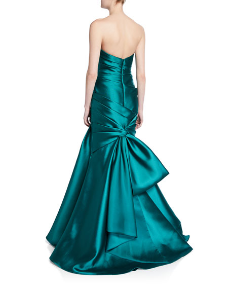 Strapless Bow-Back Trumpet Gown