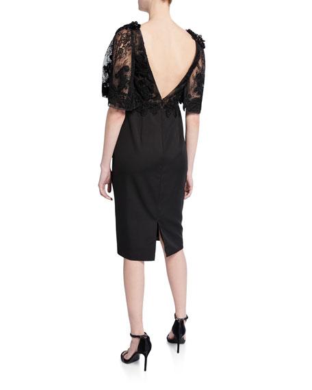 Lace Flutter-Sleeve Cocktail Dress