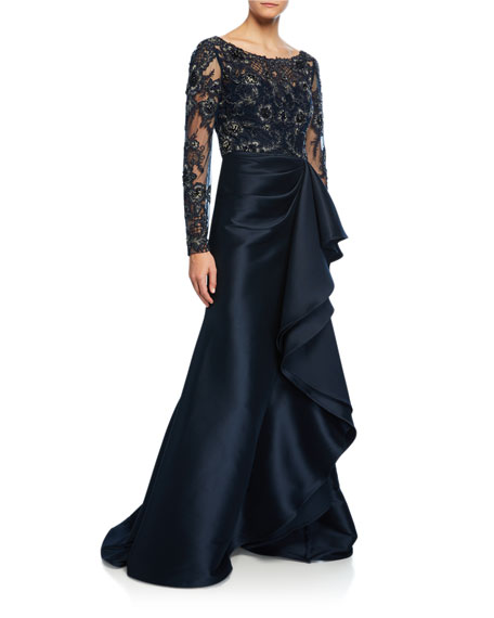 Lace Bodice Keyhole-Back Gown