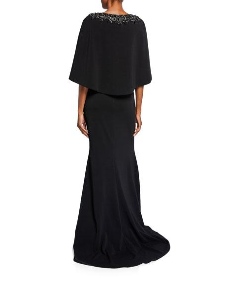 Embellished Cape V-Neck Gown