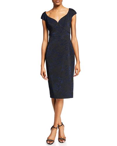 Cap-Sleeve Brocade Cocktail Dress