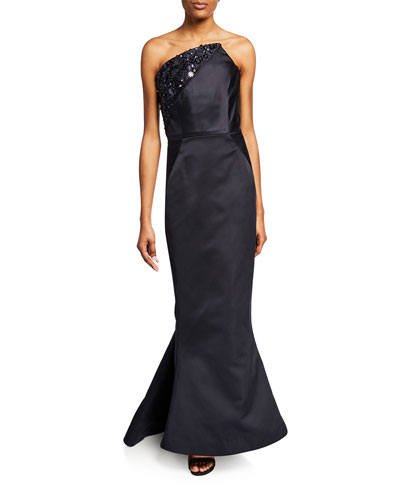 Asymmetric Strapless Embroidered Gown