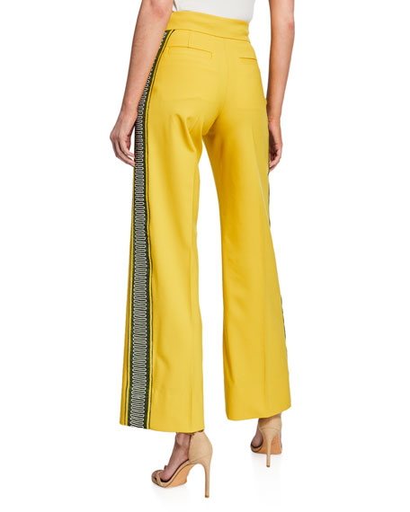 Embroidered Side-Striped Pants