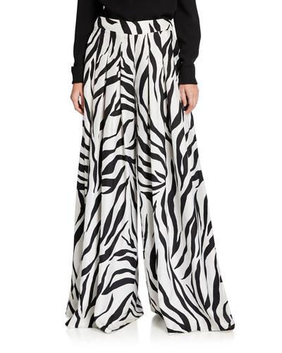 Zebra-Print Oversized Pants