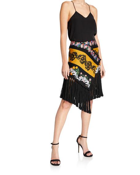 Fringed-Trim Floral Scarf Skirt