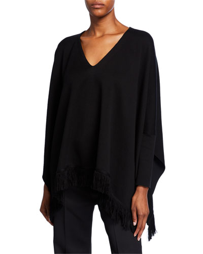 Fringe-Trim Throw Sweater