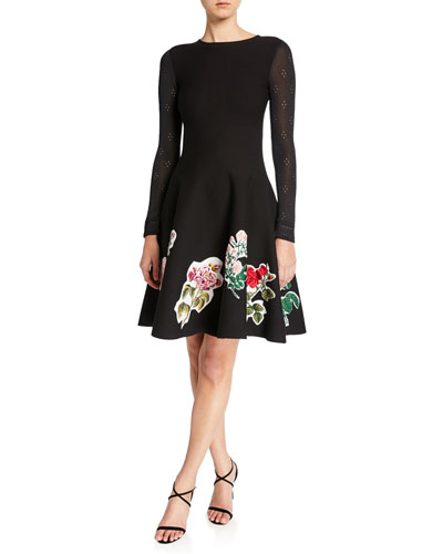 Long-Sleeve Scrapbook Floral Embroidered Dress