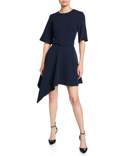 Asymmetric Short-Sleeve Belted Day Dress