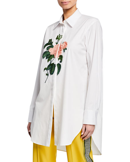 Rose-Embroidered Button-Front Blouse