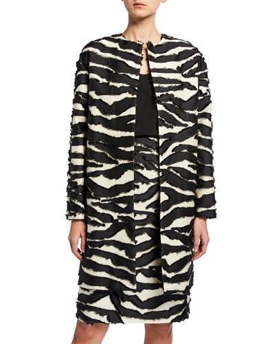 Zebra-Stripe Jacquard Car Coat