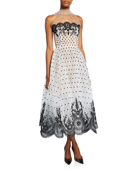 Strapless Lace Embroidered Dress