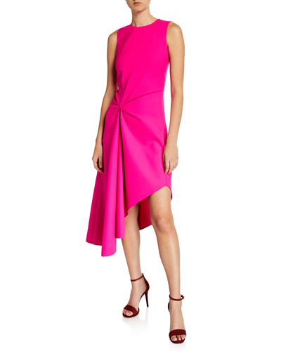 Knotted Crepe Midi Dress