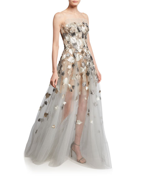 Metallic Leaf-Embroidered Tulle Strapless Gown