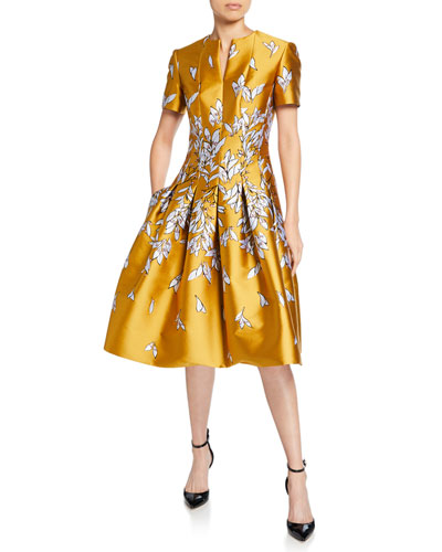 0b9ce195224 Short-Sleeve Floral Mikado Fit   Flare Dress Quick Look. Oscar de la Renta