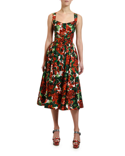 47d8d297ff Geranium Print Cotton Midi Dress Quick Look. Dolce & Gabbana