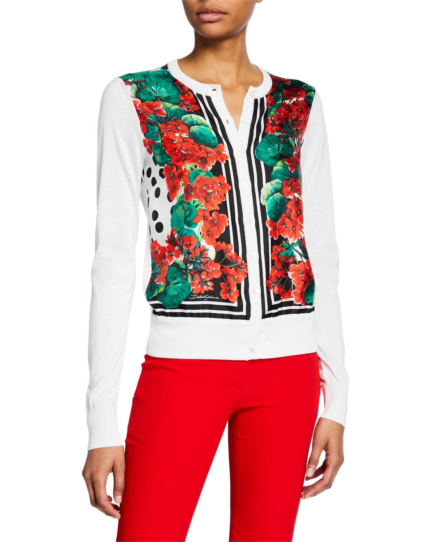 Long Sleeve Geranium Print Cardigan by Dolce & Gabbana