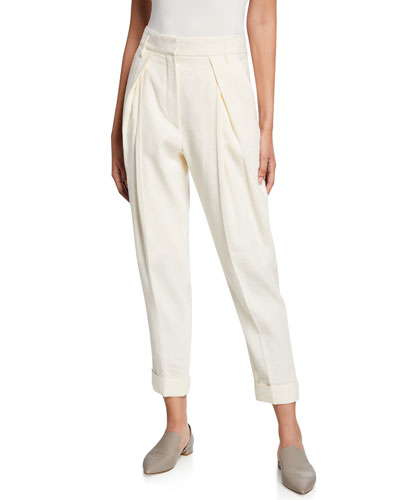 Inverted Pleat Ankle Pants