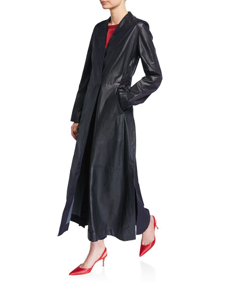 Leather and Cotton Belted Long Coat