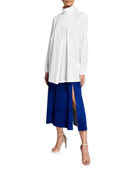 Suede Slit-Leg Midi Skirt