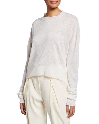 Crewneck Linen-Cashmere Sweater