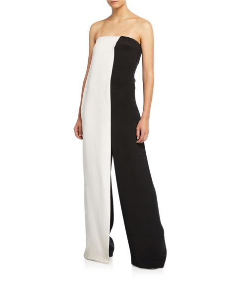 Strapless Colorblocked Wide-Leg Jumpsuit