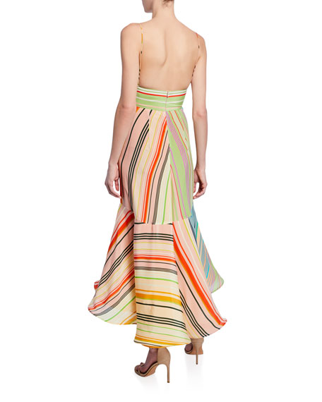 Bowed-Front Striped Flounce Dress