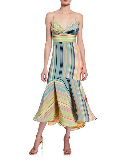 Silvia Tcherassi Bowed-Front Striped Flounce Dress