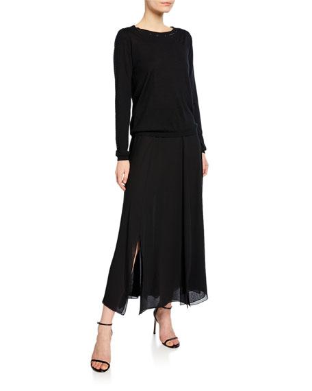 Godet-Pleated Georgette Midi Skirt