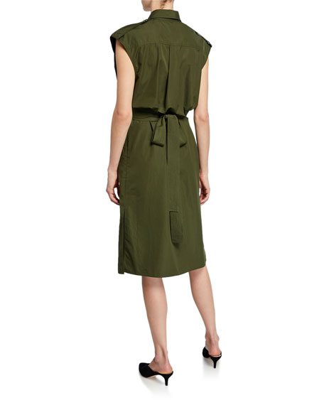 Sleeveless Belted Button-Front Utility Dress