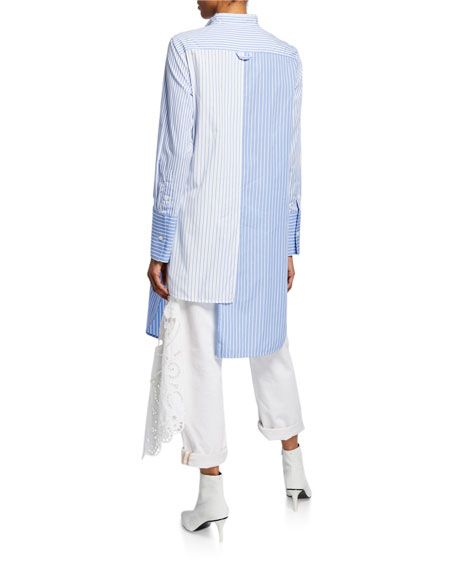 Asymmetric Mixed-Striped Button-Front Tunic