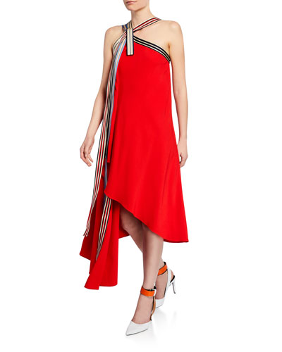 Asymmetric Grosgrain Halter-Neck Dress