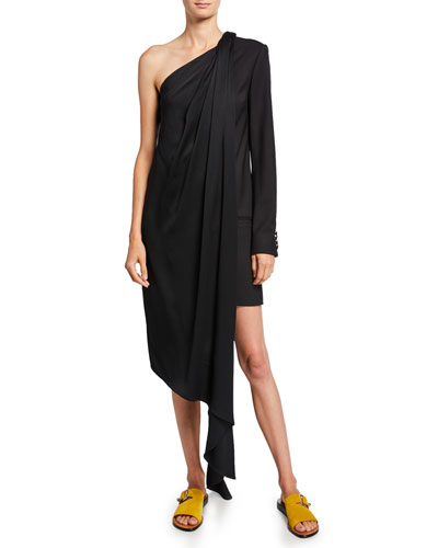 1/2-Blazer Draped One-Shoulder Dress