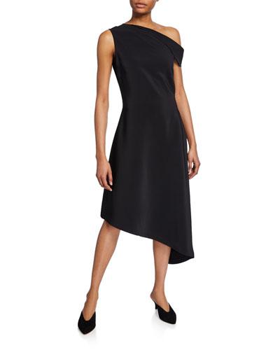 Folded One-Shoulder Handkerchief Dress