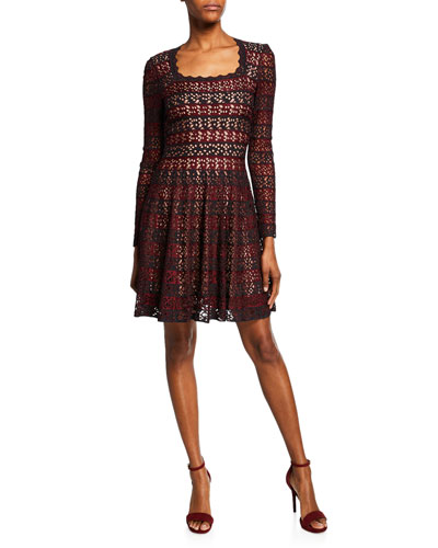 c04413702f2 Square-Neck Lace-Striped Fit   Flare Dress Quick Look. ALAIA